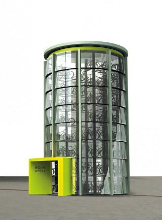 Intelligentes Fahrrad-Parkhaus von Wöhr schafft Stellplätze selbst auf engstem Raum