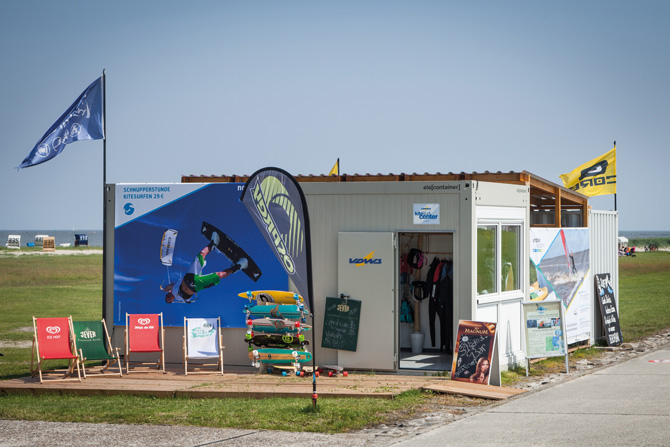 ELA Surfschule - Büro, Lager und Chillout-Area an der Nordsee