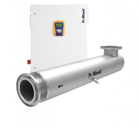 UV-Anlage Dulcodes LP zur UV-Desinfektion für einen maximalen Durchfluss von bis zu 523 m3/h mit minimalem Energieverbrauch.