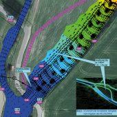 Berechnungsergebnis mit Strömungsvektoren, Wasserspiegeln und Fließgeschwindigkeiten