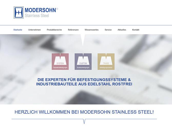 Startseite der Unternehmenswebsite mit neuer Unterteilung