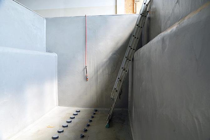 Filterbecken im Wasserwerk Bramsche, mit Spritzmörtel fertiggestellte Beschichtung