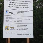 Baustellenschild mit den beteiligten Fachfirmen