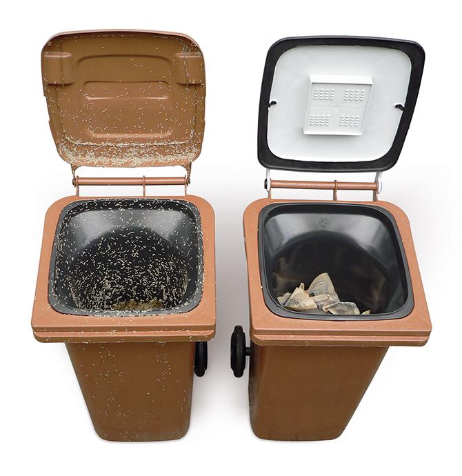 Zwei Biotonnen sind sechs Tage zuvor identisch befüllt worden: In der Standardtonne (links) tummelt sich Ungeziefer; die Biotonne mit Bio-Filterdeckel ist in hygienisch einwandfreiem Zustand.
