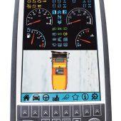 Farbbildschirm der R500: Zeigt alle wichtigen Informationen, Funktionen und die optionale Kameraüberwachung.