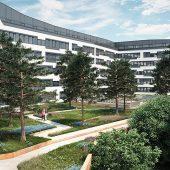 In allen Innenhöfen des Austria Campus bildet Liapor Ground die Basis für die intensive Begrünung der Flächen. (Foto: Signa Real Estate Management GmbH)