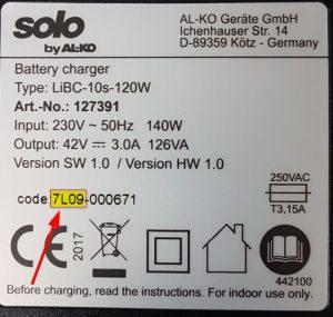 TypeLabel 7L09 300x285 - Produktrückruf: AL-KO Gardentech ruft Ladegerät für den PowerFlex-Akku zurück