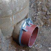 Eingebauter Eiprofiladapter. Eine VPC®-Rohrkupplung sorgt für eine dichte Verbindung mit dem nächsten Rohr.