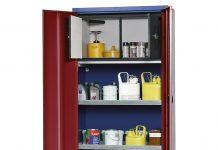 DENIOS Chemikalienschrank mit Sicherheitsbox zur Lagerung von entzündbaren Flüssigkeiten