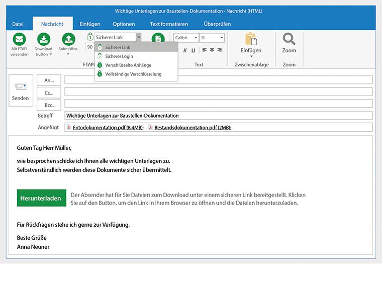 Mit FTAPI lassen sich unbegrenzt große Dateien einfach (bspw. per Outlook) und sicher (in vier frei wählbaren Sicherheitsstufen bis hin zur Ende-zu-Ende-Verschlüsselung) versenden.