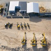 Das Komatsu Test- und Demogelände in Hannover mit einigen Maschinen aus den unterschiedlichen Produktkategorien.