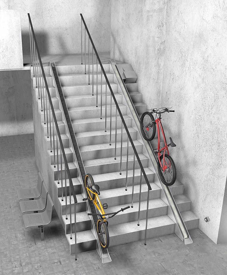 Das VeloComfort-System ermöglicht einen mühelosen und sicheren Fahrradtransport über Treppen, zum Beispiel in Tiefgaragen und Kellergeschossen. (Foto: schraeder GmbH, Kamen)