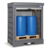 PolySafe Depot mit Rollladen für bis zu 2 Fässer à 200 Liter