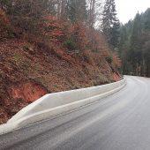 Im Pfälzer Wald schützt die Betonschutzwand vom Typ Linetech LT 102 auf einer Strecke von rund 200 m vor herabfallendem Geröll.